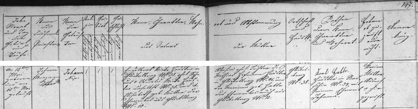 Záznam o jeho narození v glöckelberské křestní matrice , podle níž byl pokřtěn jménem Johann Nepomuk a kmotrem mu byl Karl Hable, chalupník z Račína čp. 34 se svou chotí