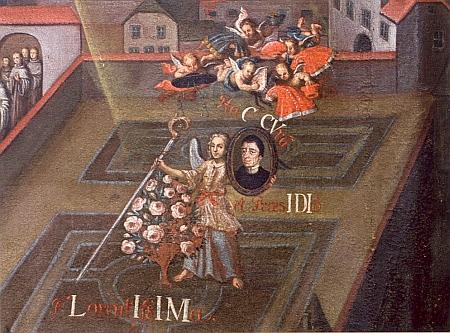 Detail anděla držícího portrét opata Quirina Mickla na obraze Pětisté výročí cisterciáckého kláštera Vyšší Brod (viz i Karoline Pichlerová)