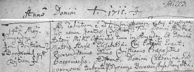Mickl, narozený na zámečku v Ostrolovském Újezdě, byl sice křtěný v Borovanech, ale jelikož Ostrolovský Újezd tehdy patřil do farnosti Střížov, byl jeho křest (i většiny jeho sourozenců) dodatečně zapsán i v matrice ve Střížově - z tohoto záznamu je také patrno, že Ondřej (Andreas) Mickl používal ještě jméno Antonín (Antonius), což bylo bezpochyby jméno biřmovací (možná tady se někde skrývá příčina oné chyby s tím přeškrtnutým jménem dítěte a připsaným jménem Antonius)