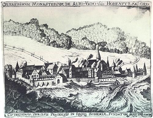 Takto na rytině z počátku 19. století měl klášter ve Vyšším Brodě vyhlížet při svém založení (to proto tu naň marně dorážejí vzbouřené vlny řeky Vltavy)