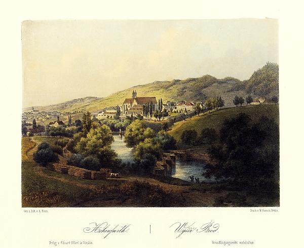 Klášter a město Vyšší Brod na barevné litografii Augusta Hauna (1864)