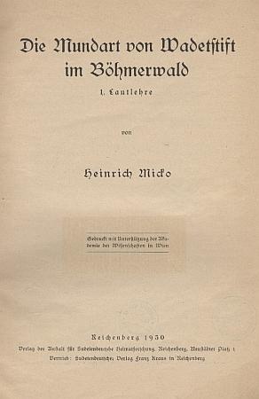 Titulní list jeho práce o šumavských nářečích (1930, Anstalt für Sudetendeutsche Heimatforschung, Liberec)