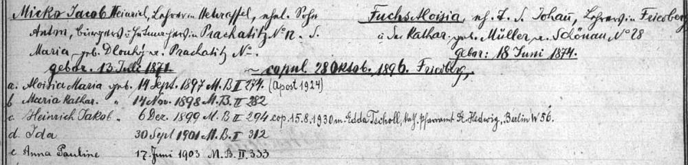 """Záznam z """"rodového katastru"""" farní obce Přední Výtoň svědčí o tom, že se narodil 6. prosince 1899 tamnímu učiteli Jacobu Heinrichu Mickovi (synu Antona Micko, prachatického měšťana a kloboučníka, a jeho ženy Marie, roz. Dlouhé) a jeho manželce Aloisii, roz. Fuchsové (dceři Johanna Fuchse, učitele ve Frymburku,  a jeho ženy Kathariny, roz. Müllerové z Pěkné čp. 28) - pozdější přípis informuje i o svatbě Heinricha Jakoba Micko 15. srpna roku 1930 vBerlíně s Eddou Tschollovou"""