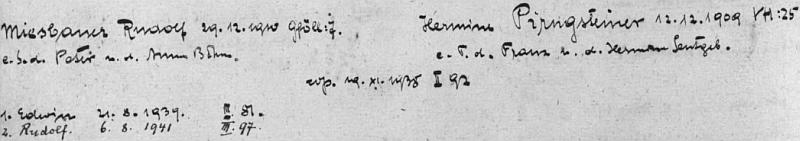 """Podle záznamu z """"Rodového katastru"""" farní obce Přední Výtoň narodil se tam 21. srpna 1939 Rudolfu Miesbauerovi (nar. 29. prosince 1910 v rakouském Gföllu v rodině Petera Miesbauera a Anny, roz. Böhmové) ajeho ženě Hermine, roz. Pirngsteinerové, (nar. 12. prosince 1909 v Přední Výtoni v rodině Franze Pirngsteinera a Hermine, roz. Leutgebové)"""