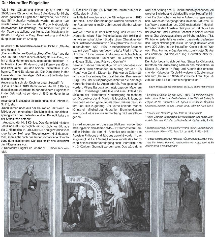 Černobílý snímek křídlového oltáře v Přední Výtoni doprovází podrobný jeho výklad o něm, opírající se i o české prameny
