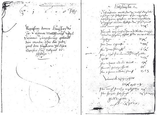 První strana a první zápis do výtoňské pozemkové knihy