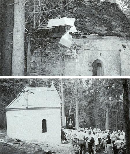 """Dva snímky """"Kreuzberg Kapelle"""" před renovací a při znovuvysvěcení v srpnu 2003"""