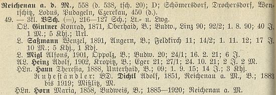 Je tu uveden mezi učiteli v Rychnově nad Malší jako absolvent budějovického učitelského ústavu v roce 1920