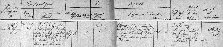 Záznam o jeho první svatbě v knize oddaných tehdy samostatné obce Rožnov, vedené při českobudějovické farním úřadu u sv. Mikuláše