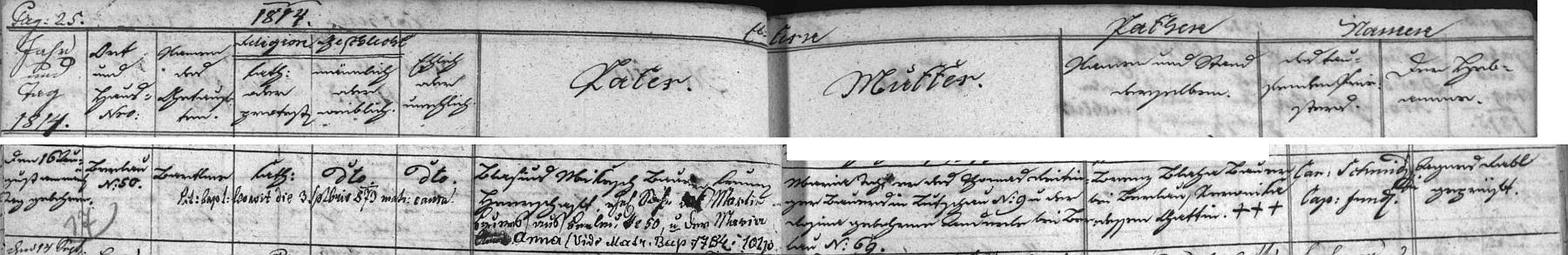 Záznam o jeho narození v brložské křestní matrice