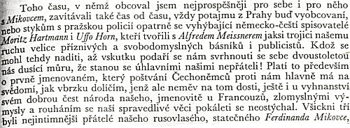 Pasáž z pamětí Josefa Václava Friče připomíná autorovy styky s Mikovcem, Alfredem Meissnerem i Moritzem Hartmannem