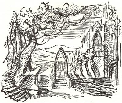 """Scénický návrh Karla Svolinského pro jubilejní uvedení poslední Smetanovy opery """"Čertova stěna"""" roku 1942, 60 let od její premiéry, se zobrazením """"hradu na horní Vltavě"""", od roku 1938 přitom v """"říšském záboru"""""""