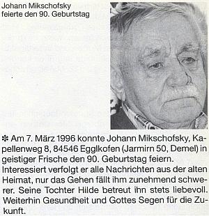 Připomínka otcových devadesátin stránkách krajanského časopisu