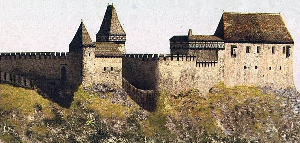 Hmotová rekonstrukce hradu Pořešín, jak vyhlížel někdy počátkem 15.století, zakreslena není zástavba obou předhradí