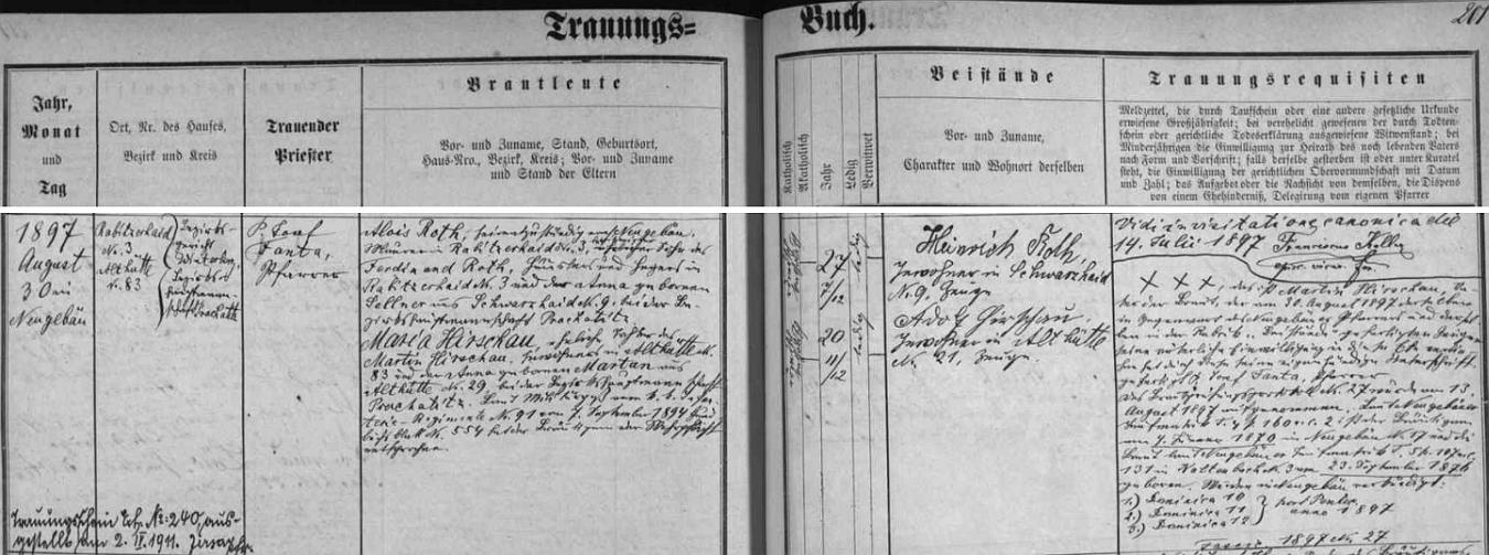 V srpnu roku 1897 se podle tohoto záznamu novosvětské oddací matriky, který učinil farář Josef Fanta, ženil vezdejším kostele sv. Martina syn hajného Ferdinanda Rotha z Hrabických Lad čp. 3 a jeho ženy Anny, roz. Sellnerové ze sousedících Černých Lad (Schwarzhaid) čp. 9