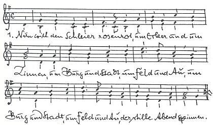 Notový záznam prvé sloky jeho zhudebnění další Watzlikovy básně Píseň o Rožmberku nad Vltavou