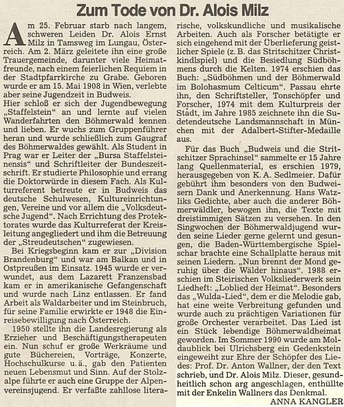 Jeho nekrolog, který napsala Anna Kanglerová pro oficiální orgán krajanského sdružení