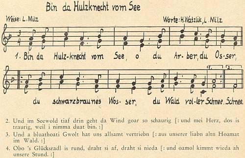 Tady je notový záznam jeho zhudebnění básně Watzlikovy (Lesů a jezer v nich...)