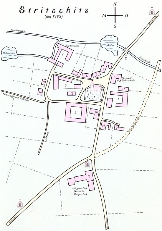 Plánek Strýčic, odkud pocházela jeho žena Gretl z učitelské rodiny Zewlovy (německá škola, kde bydlila, má čp. 8)