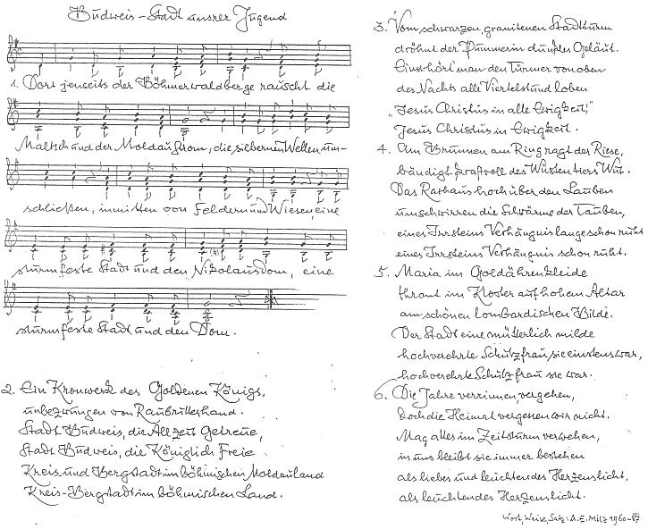 """Rukopis jeho písně o Budějovicích, """"městě našeho mládí"""""""