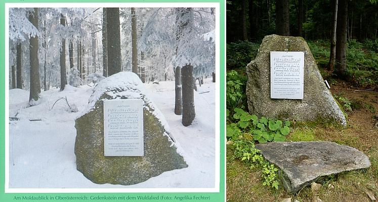 Památník jeho a Wallnerovy Písně o Vltavě při rozhledně Moldaublick