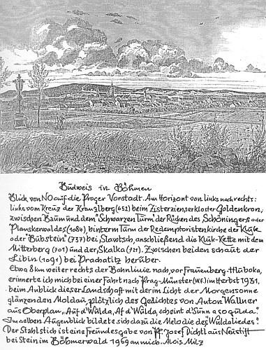 Staré zpodobení Českých Budějovic v kresbě Jana Kouly z roku 1880 s Milzovým popisem vzniku Písně o Vltavě