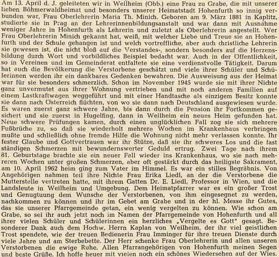 Zpráva o jejím úmrtí s vysvětlením vztahu zemřelé k Erice Liedlové, které jako její teta nahrazovala matku a byla už v listopadu 1945 vyhnána spolu s ní