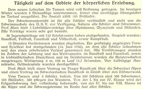 """Zpráva o """"činnosti na poli tělesné výchovy"""" v německém vyšším reálném gymnáziu v Českých Budějovicích vypovídá i o jeho přednášce na šumavské téma vešvýcarském rozhlase"""