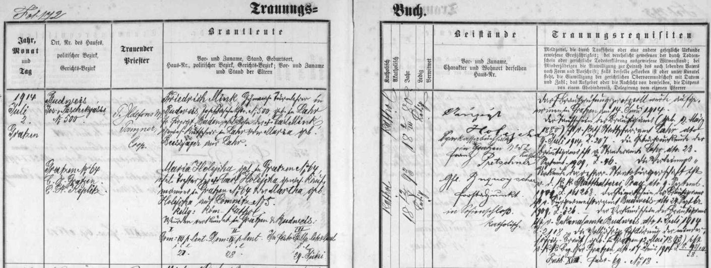 """Záznam novohradské oddací matriky o jeho zdejší svatbě dne 2. července 1914 ani ne měsíc před začátkem první světové války - ženich, jehož """"předválečná"""" adresa tu zní """"Budweis, Taschekgasse"""" (tj. dnešní Dukelská ulice) čp. 500, byl synem Carla Minka (údaj o povolání je nečitelný) a Marie, roz. Bussjägerové, obou z ženichova rodného Lahru"""