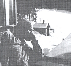 U okna chaty v Holzschlagu