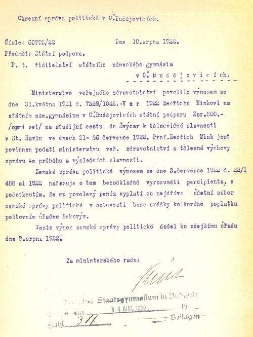 Dokument o přiznání státní podpory na jeho studijní cestu do Švýcarska v roce 1922