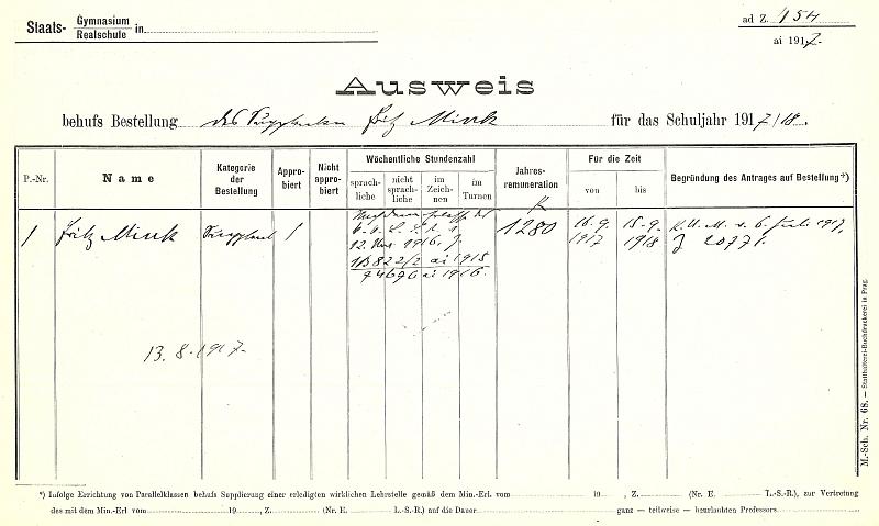 Jeho pracovní záznam z českobudějovického německého gymnázia