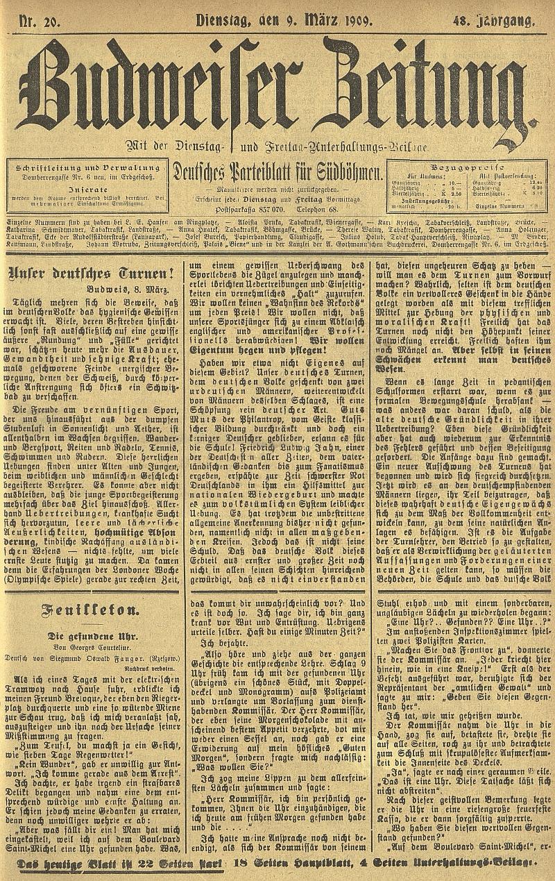 Titulní strana německého budějovického listu z počátku března 1909 s úvodem jeho obsáhlého textu o duchu německého turnerství