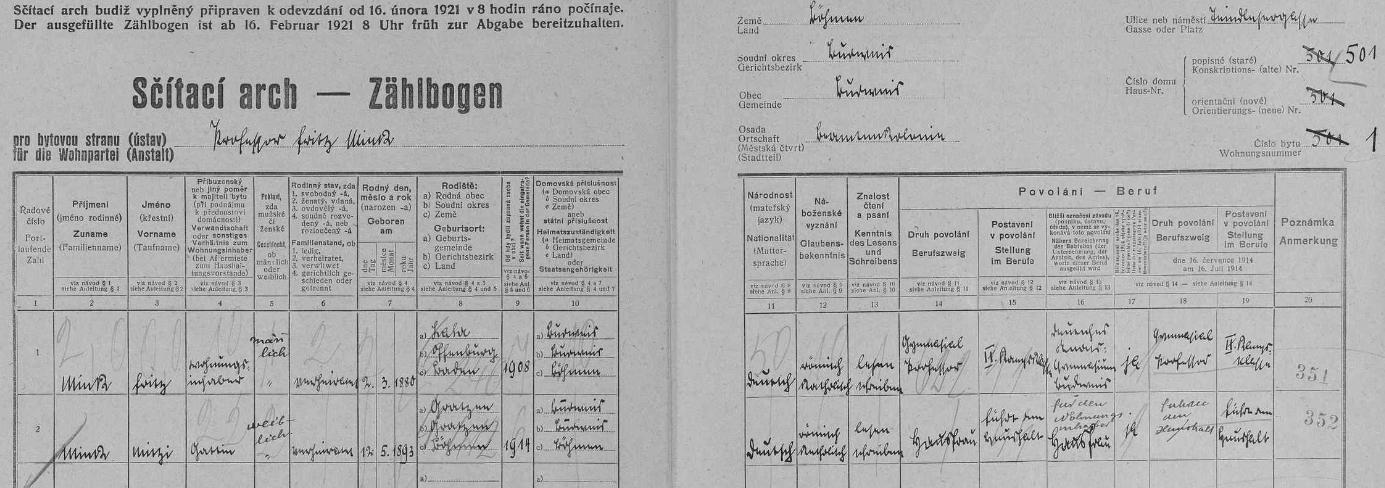 """Výrazným písmem tu vlastní rukou zaznamenal v českobudějovickém domě čp. 501  na archu sčítání lidu z roku data svá a ženina (její křestní jméno Maria je tu psáno Mitzi, to jeho je ostatně také """"důvěrnější"""" podobou původního Friedrich)"""