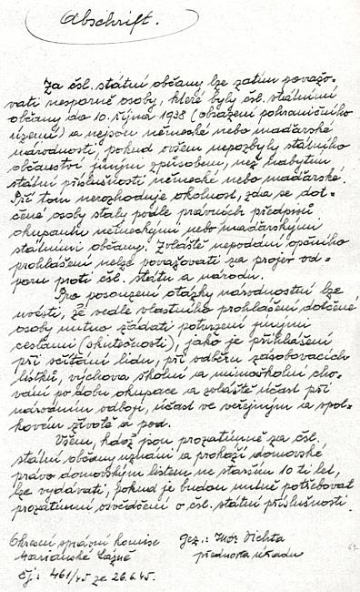 Jeho opis zásad pro posuzování státního občanství z26.června 1945, vydaných Okresní správní komisí vMariánských Lázních