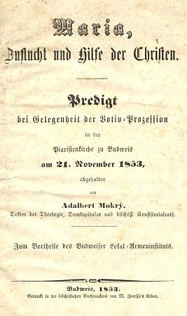 Titulní list jeho německého mariánského kázání