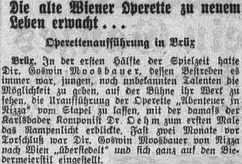 """Takto referoval v únoru 1938 list """"Pilsner Tagblatt"""" o Moosbauerově snaze probudit vMostě operetu k novému životu"""