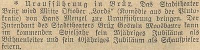 """Podle této zprávy listu """"Neues Wiener Tagblatt"""" ze září roku 1940 oslavil tehdy Moosbauer čtvrtstoletí svého režisérského působení a 40 let herectví"""
