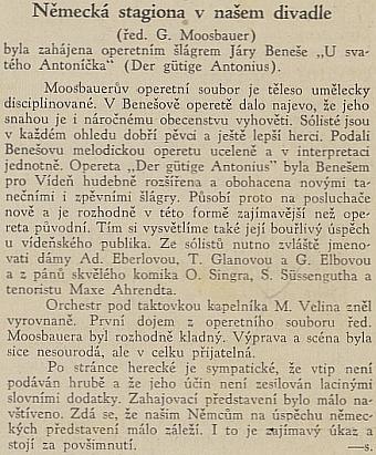 Zajímavý a příznivý pohled českého tisku v Českých Budějovicích na jeho operetní soubor v roce 1937