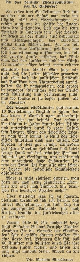 Jeho výzva německému divadelnímu publiku v Českých Budějovicích z dubna 1938