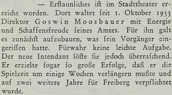 """Od října 1933 energicky pozvedl úroveň městského dovadla v saském Freibergu, jak píše kompetentní """"Zeitschrift für Musik"""""""