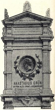 Pamětní deska Antona Alexandra hraběte Auersperga (ps. Anastasius Grün) na Německém domě v Lublani (kdysi rakouském Laibachu)