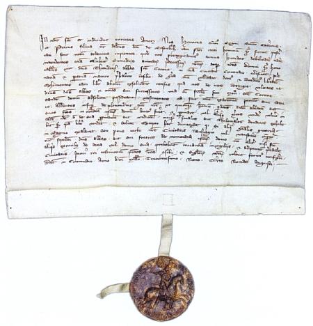 Listina ze dne 2. srpna roku 1309, kterou Jindřich z Rožmberka a jeho syn Petr osvobozují Zlatokorunský dům vKrumlově ode všech peněžních dávek a v níž je Krumlov poprvé zmíněn jako město