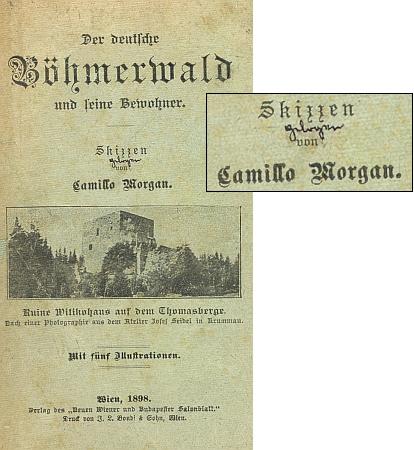 """Obálka (1898) jeho knihy, kritický majitel připsal pod knižní podtitul """"Skizzen"""" perem slovo """"vylhané"""""""