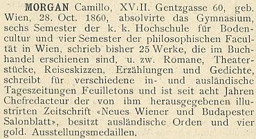 """Jeho heslo ve slovníku """"""""německo-rakouských"""" spisovatelů (1902)"""