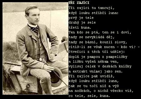Jeden z povedených českých překladů jeho básní s podobenkou osmnáctiletého Morgensterna