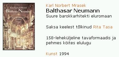 Inzerát finského překladu (1994) jeho monografie barokního architekta Balthasara Neumanna, rodáka z Chebu