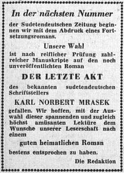 Takto inzeroval ústřední list vyhnaných krajanů v říjnu 1953 jeho román na pokračování z dosud netištěného rukopisu