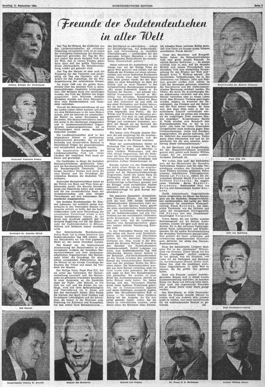 """V září 1954 přinesl ústřední list krajanského sdružení tuto """"čestnou tabuli"""" přátel sudetských Němců po celém světě a on tu figuruje hned vedle nizozemské královny a generála Franca, kancléře Adenauera, papeže Pia XII., Otty Habsburského, hraběte Coudenhove-Kalergiho či generála Prchaly"""