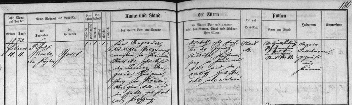 Záznam o narození Josefa Mugrauera v Českém Krumlově dne 11. února roku 1872: otec Karl zde byl městským policejním strážmistrem, matka Elisabeth byla dcerou zdejšího soukeníka Ignaze Hrdličky a Elisabeth, roz. Reischlové zeŽelnavy - mohl to být on?